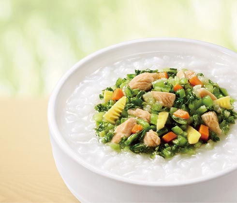 雪菜笋丁鸡肉粥